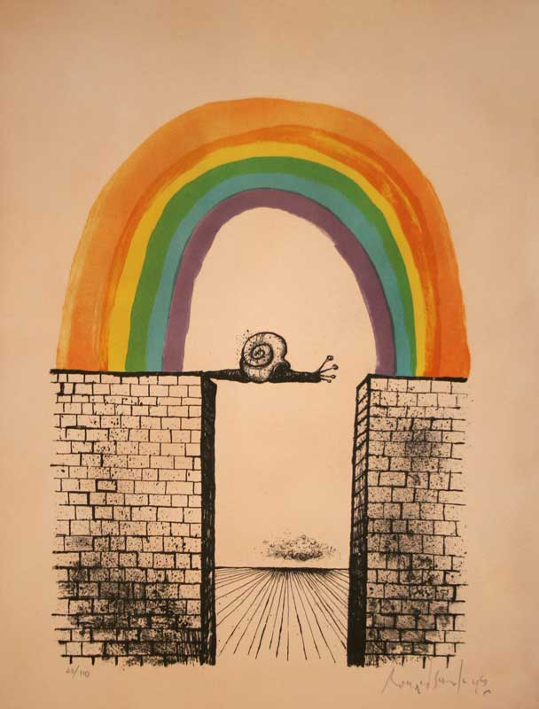 Ronald Searle - Untitled                   (Snail & Rainbow)