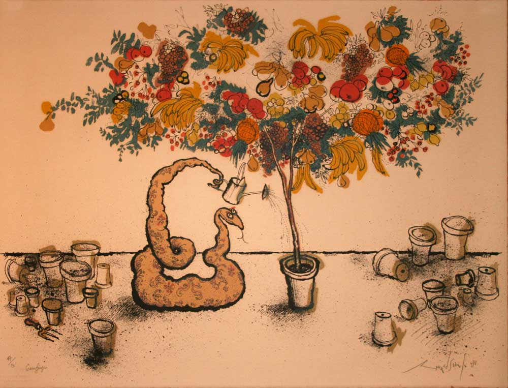 Ronald Searle Lithograph - Greenfinger