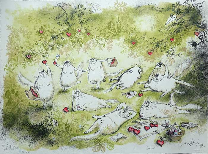 Ronald                       Searle Lithograph - Love Feast