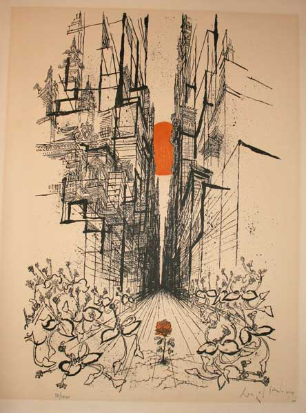 Ronald Searle           Lithograph - Untitled Rose